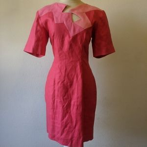 Vintage 80s linen dress geometric collar